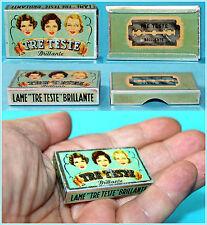 Vintage 'TRE TESTE BRILLANTE' Razor Blades Empty Litho Tin Box, Italy 1950's