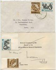 KUT KENYA NAIROBI SKELETON CANCEL 1958 FDC 40c LION + 15c ELEPHANT
