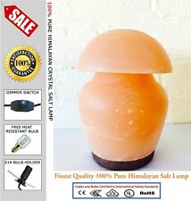 Natural Himalayan Ionising Salt Desk Lamp 3-4 kg On Wooden Base Mushroom Shape