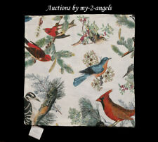 Pottery Barn WINTER FAUNA Pillow Cover 20X20 Christmas Botanical Cardinal Birds