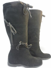 NINE WEST PARKWAY black suede triple tie split toe mukluk casual boot 6.5