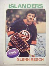 GLENN CHICO RESCH signed RC ISLANDERS 1975-1976 Topps hockey card ROOKIE AUTO NY