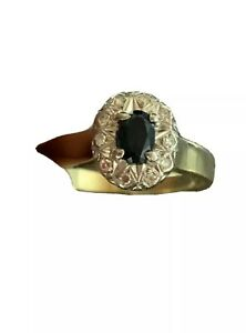 VINTAGE ESTATE 18 CT/K YELLOW GOLD  SAPPHIRE & DIAMOND RING