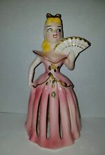 Kreiss & Company Ceramic Pink Lady with Fan Candle Napkin Holder VTG EUC 1950's