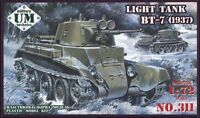 BT-7 SOVIET LIGHT TANK M.1937 RED ARMY WWII 1/72 UNIMODEL UMT 311