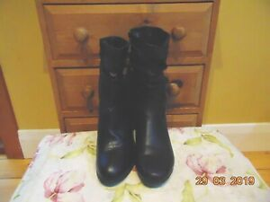 """2 PAIRS BLACK CALF LENGTH BLACK BOOTS FAUX LEATHER SUEDE VEGAN SIZE 11 3"""" HEEL"""