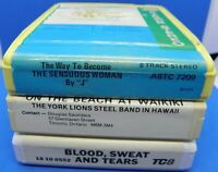 """Lot of 3 8track tapes - Blood, Sweat & Tears , On The Beach at Waikiki & """"J"""""""