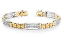 2.40CT NATURAL ROUND DIAMOND 14K YELLOW WHITE GOLD WEDDING BRACELET FOR MEN
