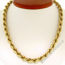 """Fancy 18K Yellow Gold 18"""" 8.0mm Thick Rope Chain Necklace w/ Spring Ring 27.1g"""