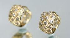 26 Tiny Created Brilliant Diamond 1.2cm Yellow Gold GF Hoops