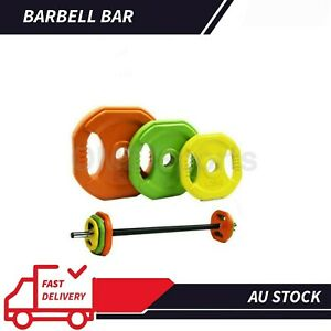 Barbell Bumper 20kgRubber Colour Plates Safety Collars Bar Set Weight Training