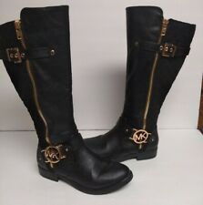 Michael Kors Tall Women's Boots Black Quilted / Leather Gold MK Logo Charm SZ 7