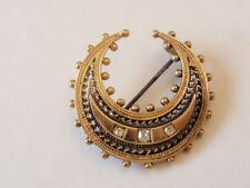 Antigua victoriana Antique Victorian 15CT oro y diamante Crescent. Broche/Pin C. 1890