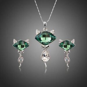 Gifts For Nanny GREEN CRYSTAL FOX PENDANT JEWELRY SET KHAISTA