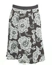 Talbots Skirt Size 4 A Line Cotton Brown Off White Floral Unlined Grosgrain  EUC