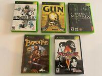 XBOX Game Lot- Metal Gear 2, Gun, Bards Tale, Soul Calibur II, Enter the Matrix