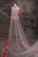 1 Layer White Cathedral  Traum Braut Hochzeit Schleier Schöne rote Blütenblätt