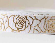 1M X 22 mm Grosgrain Ribbon Craft DIY Decoration Hair Bow - Rose On White