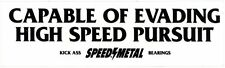 Speed metal skateboard sticker negro blanco 15x4,5cm rectangular
