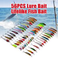 56Pcs Mixed Assorted Minnow Fishing Lures Crankbaits Fish Bass Baits Tackle Hook