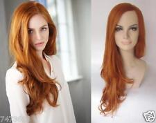 Cosplay Long Wavy Ginger Orange Layered Heat Resistant Fashion Wig Hair