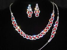Bridal Silver With Red Ruby Rhinestone 3PC Set Necklace, Earrings and Bracelet