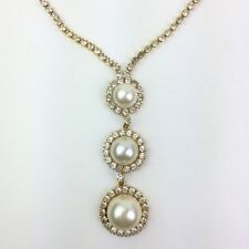 Vtg Gold Tone Clear Rhinestone Faux Pearl Y Drop Necklace Statement Prong Set