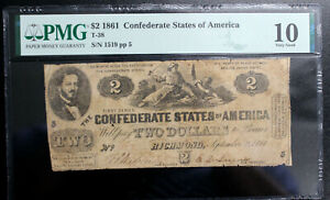 """T-38 $2 Confederate 1861  CSA PMG 10 VERY GOOD """"NO COMMENTS"""" EARLY SERIAL 1519"""