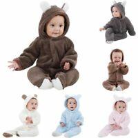 Newborn Baby Winter Thicken Bear Jumpsuit Warm Fleece Hoodie Romper Clothes Suit