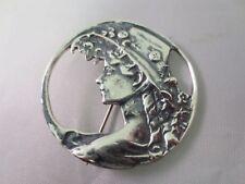 Lady Portrait Repousse Round Pin Pendant Vintage Art Deco Sterling Silver Maiden
