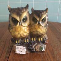 Vtg owls on log bank Be Wise Save brown gold black birds figurine pair