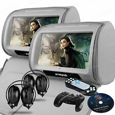 Gray 9inch Automobile LED Digital Touch Headrest DVD Player Monitor Game Headset