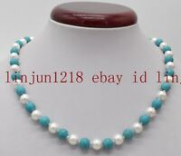 New 8mm South Sea White Shell Pearl & Blue Turquoise Round Gems Necklace 18''AAA
