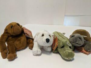 Lot of 4 Dakin Lou Rankin Mini Friends Orangutan Turtle Polar Bear Alligator