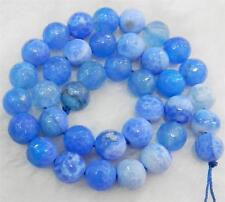 "Faceted 10mm Blue Dream Fire Dragon Veins Agate Round Gems Loose Beads 15"" AA"