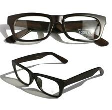Rectangular dark brown wood Sun-glasses clear lens smart looking nerdy glasses