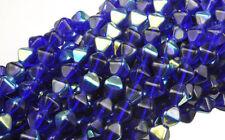 100 Cobalt AB Bicone Czech Glass Beads 6MM