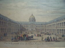 VUE DE LA GRANDE COUR DE l'HOTEL ROYAL JACQUES RIGAUD18thC COPPERPLATE ENGRAVING