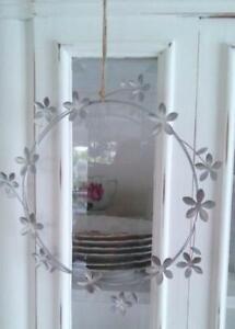 Blütenkranz, Blüten Kranz, Metall Silber, Ø: 22 cm, Landhaus