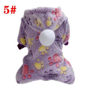 Pet Dog's Soft Plush Pet Clothes Warm Fleece Jumpsuit Pajamas Hoodie Coat Hot