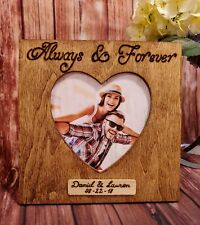 Personalized Always & Forever Picture Frame Engraved Wooden Couple names Frame