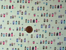 CREAM WITH ROWS OF LITTLE HOUSES IN A VARIETY OF COLOURS- COTTON FABRIC F.Q.