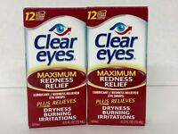 Lot Of 2 0.5 Oz Clear Eyes Maximum Redness Relief Lubricant Eye Drops Ex 02/2020