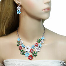 Bright Flower Necklace Earrings Set Red Enamel Rhinestone Crystal Silver GP Art