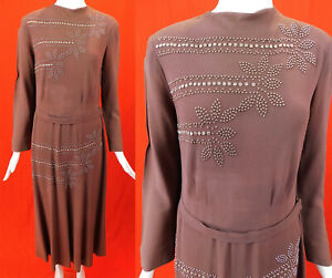 Vintage 1940s Taupe Brown Silk Crepe Silver Studded Beaded Belted Swing Dress