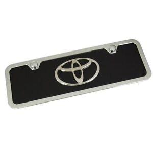 Toyota Chrome Logo Mini License Plate With Frame (Black)