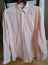 L.L. Bean Men's Large Orange Checks Linen Long Sleeve Button Front