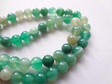 "6mm Natural Green Agate Round Semi Precious Gemstone Beads - 15"" Strand"