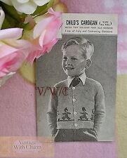 Vintage Knitting Pattern Boys Toy Soldier Guardsman Cardigan Size 4-6 Years