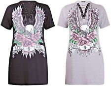 New Womens Plus Size Eagle Rose Printed Lace Up Band Choker Tie Rock Top Dress